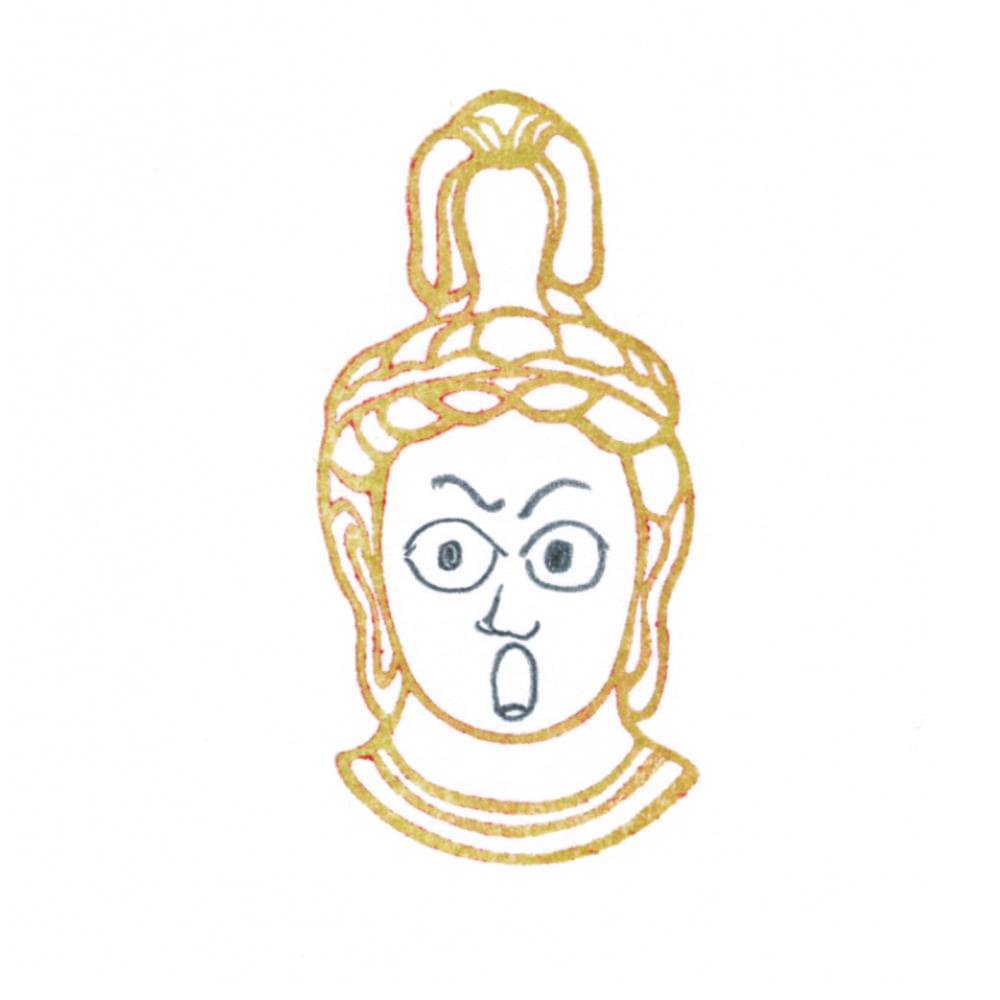 顔出し仏像はんこ-帝釈天5