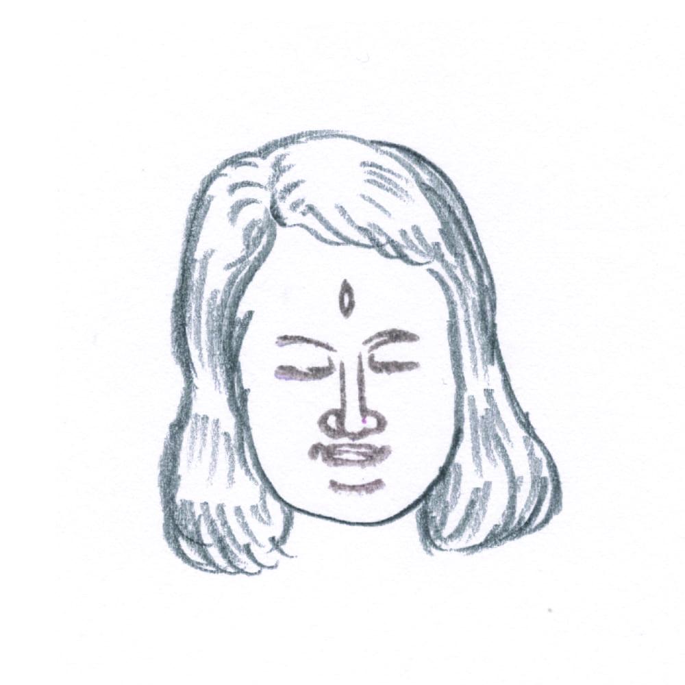 顔出し仏像はんこ-帝釈天6